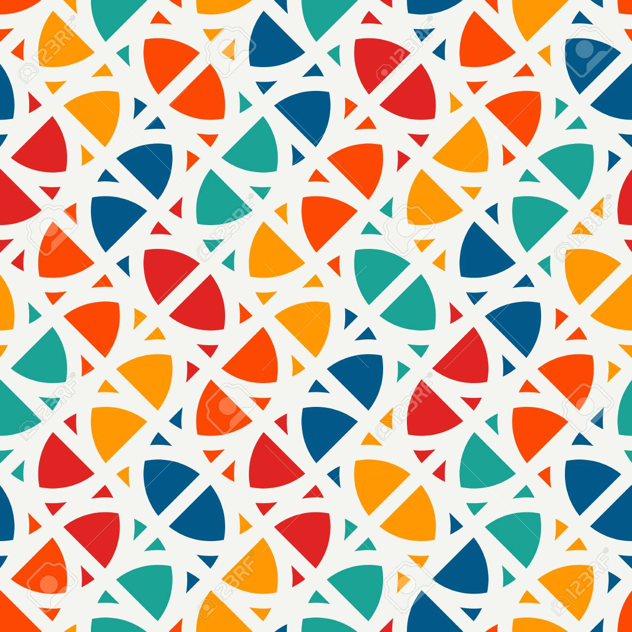 Bright modern print with geometric shapes. Contemporary abstract background with repeated figures. Colorful seamless pattern with geometric forms. - 97420864