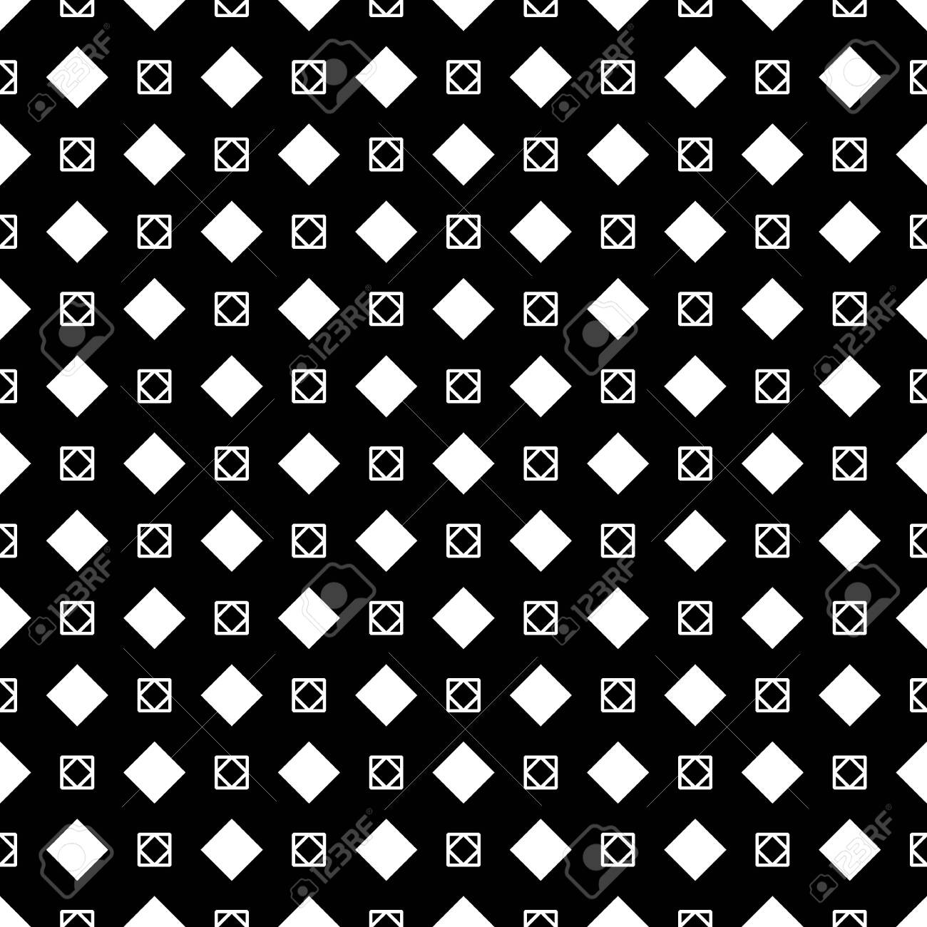 Rhombuses, squares on black background. Seamless surface pattern design with diamonds ornament. Checks wallpaper. Ethnic mosaic motif. Digital paper for textile print, page fill, web designing. Vector - 154646886