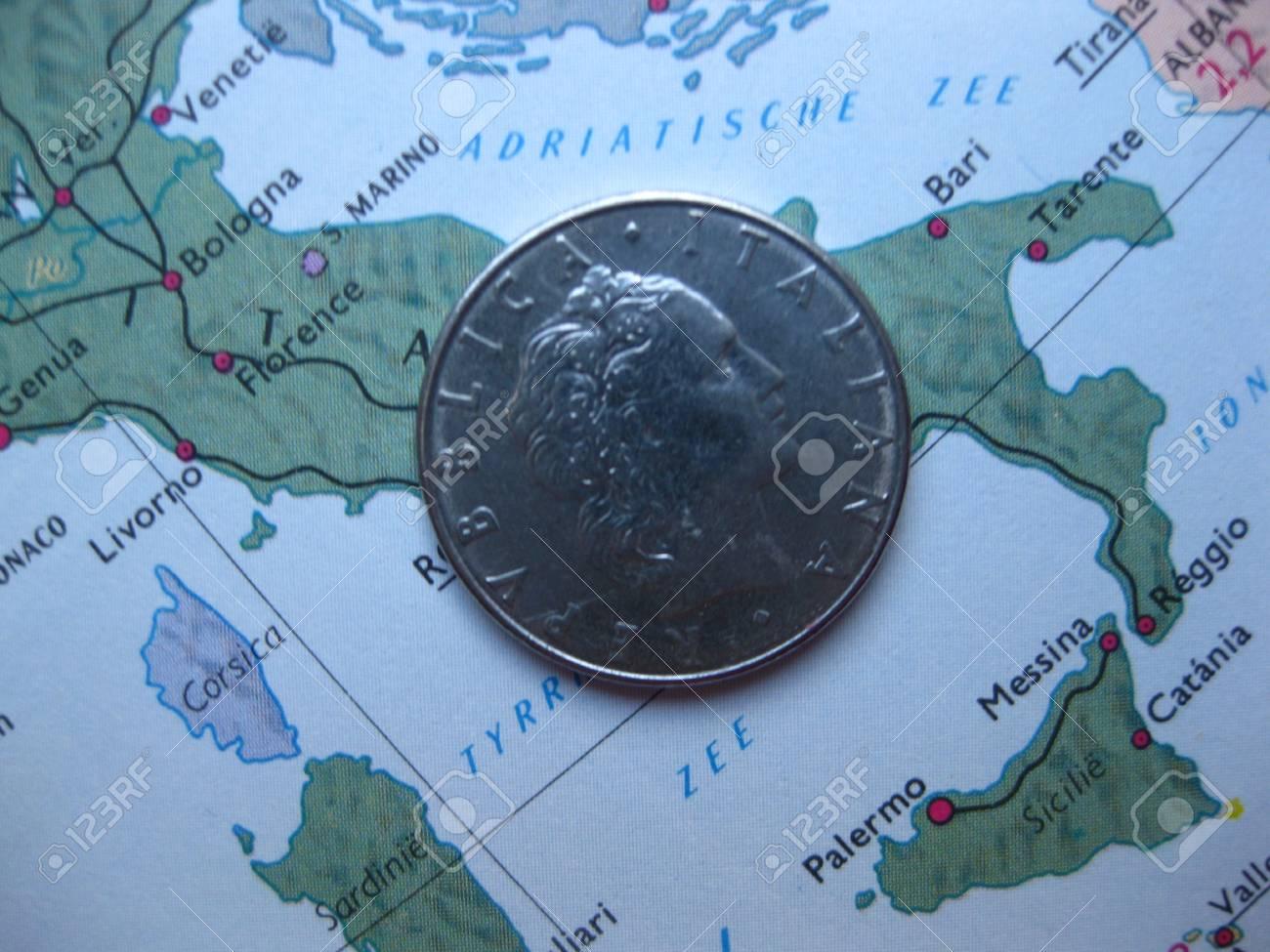 Old Italian Lira On Vintage Italian Map Stock Photo, Picture And ...