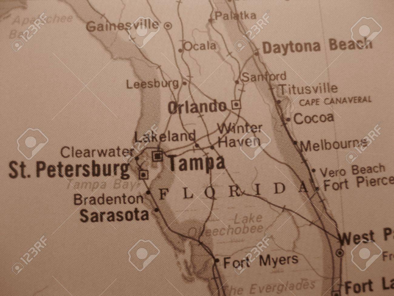 Map Of Tampa Florida Area.Vintage Sepia Map Tampa Florida Stock Photo Picture And Royalty
