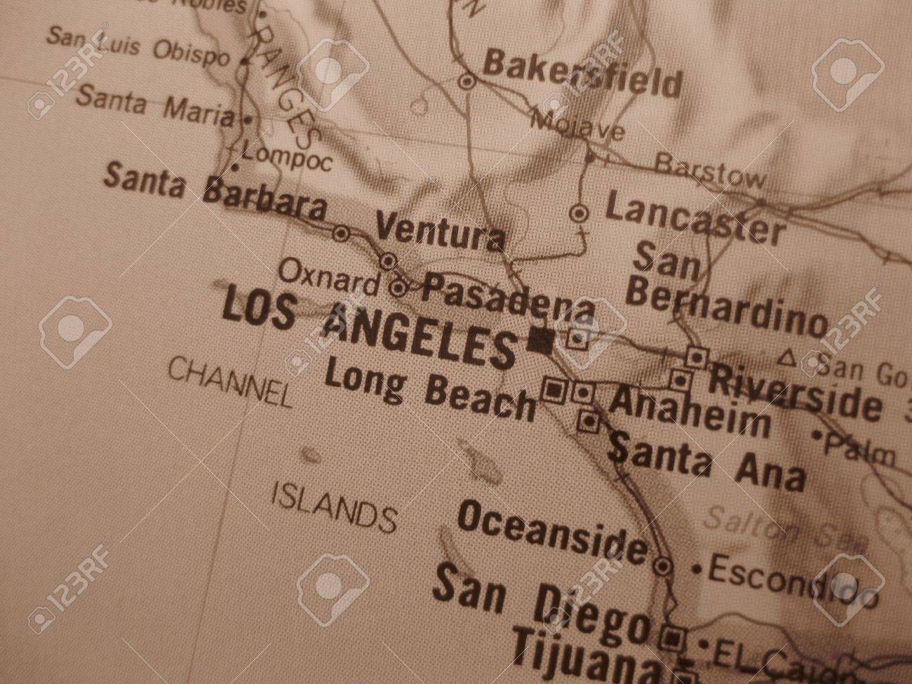 Vintage Sepia Map Los Angeles Stock Photo Picture And Royalty - Los angeles map wallpaper