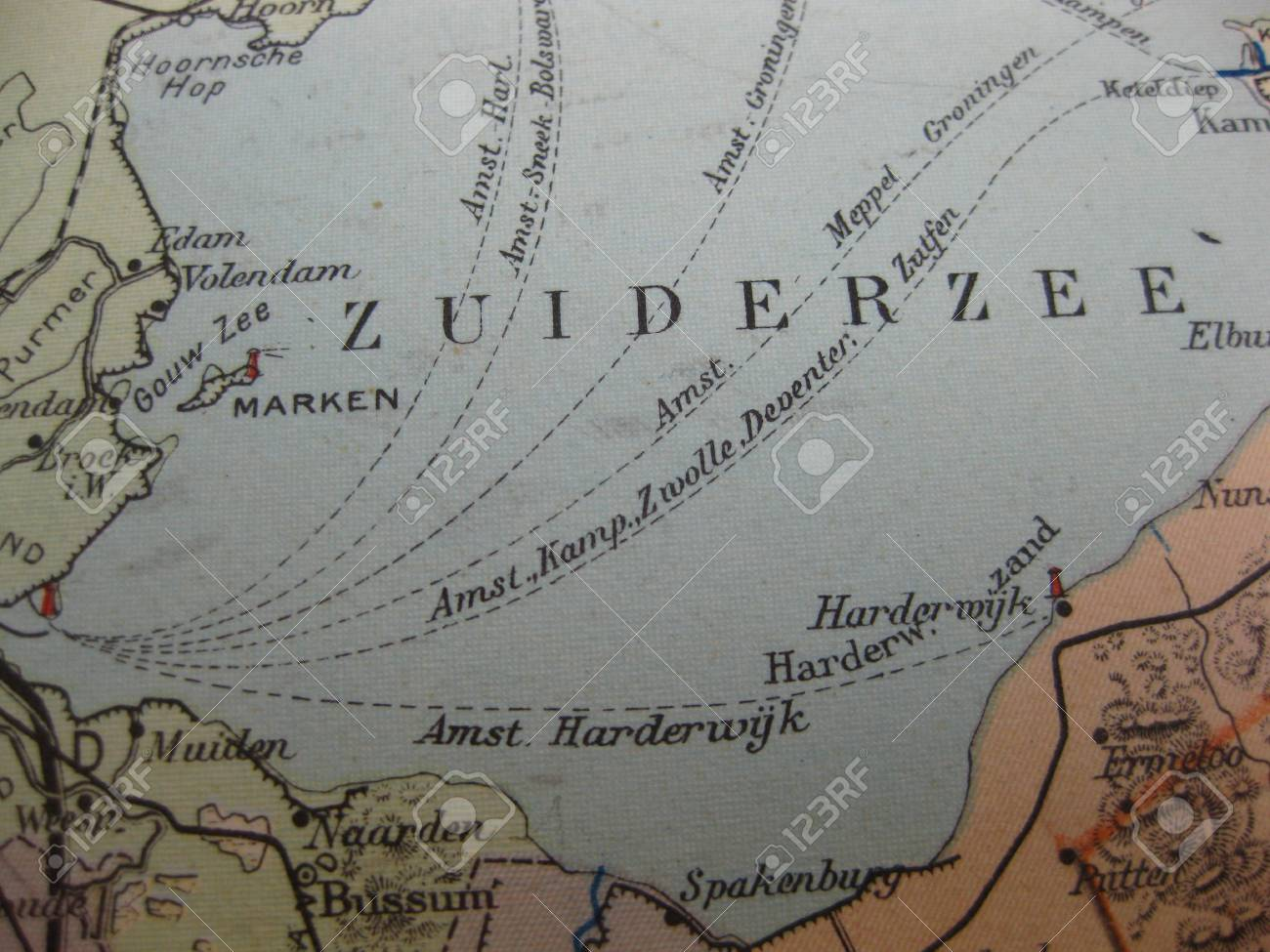Vintage Map Of 1929 Flevoland The Netherlands Stock Photo