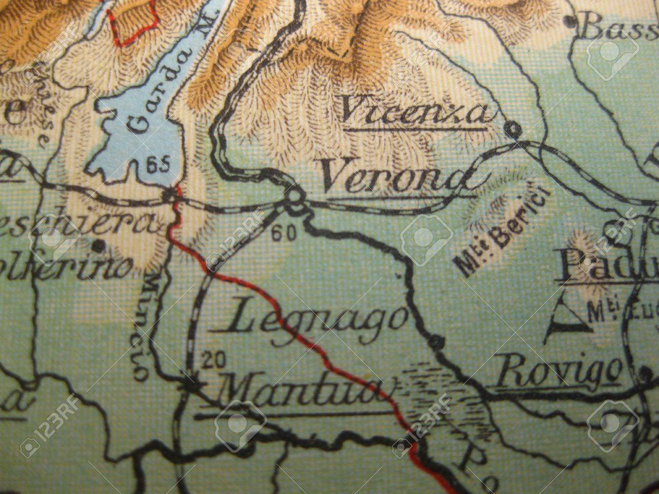 Vintage Map Of 1929 Verona Italy Stock Photo Picture And Royalty