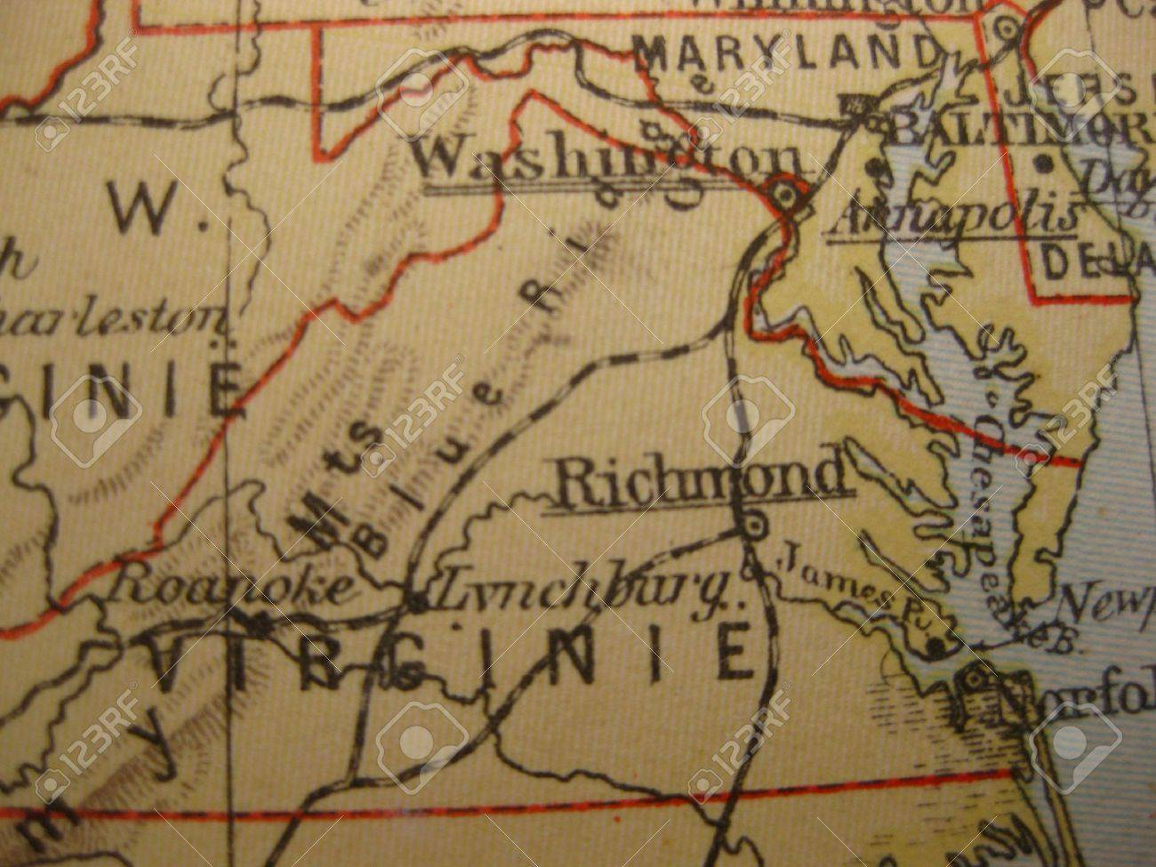 Vintage Map Of 1929 Virginia Old Dominion State Stock Photo