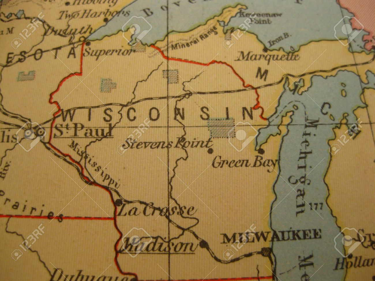 Vintage Map Of 1929: Wisconsin, Badger State Stock Photo, Picture