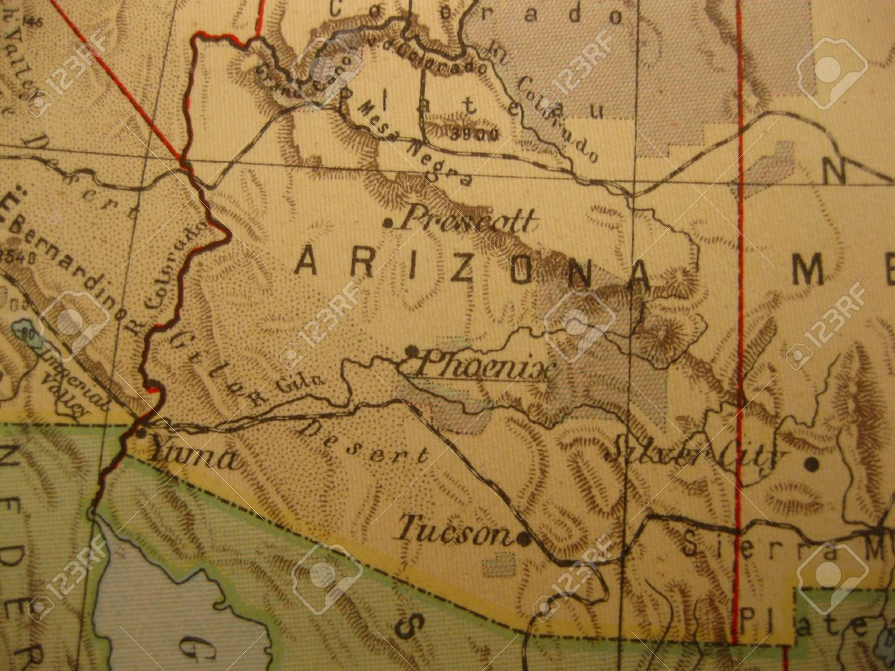Vintage Map Of 1929: Arizona, Grand Canyon State Stock Photo
