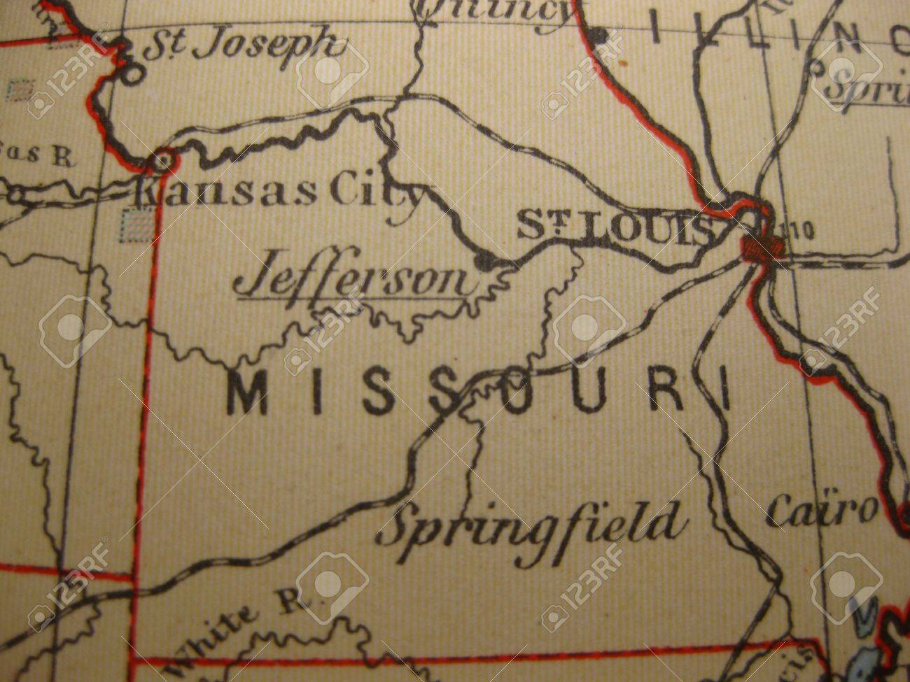 Vintage Map Of Missouri Show Me State Stock Photo Picture - Show me a map of missouri