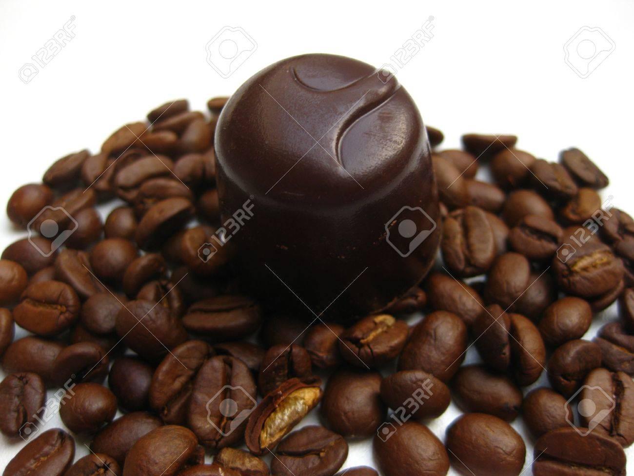 Belgium Chocolate Praline On Espresso Beans Stock Photo, Picture ...