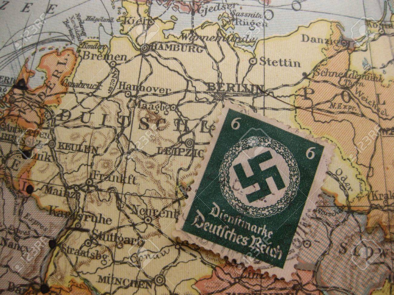 Stamp On Vintage Map Germany In World War Ii Stock Photo Picture