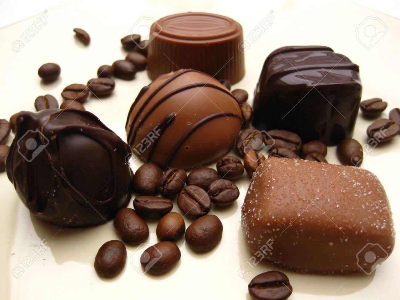 belgium chocolate pralines with coffee beans Stock Photo - 4680826