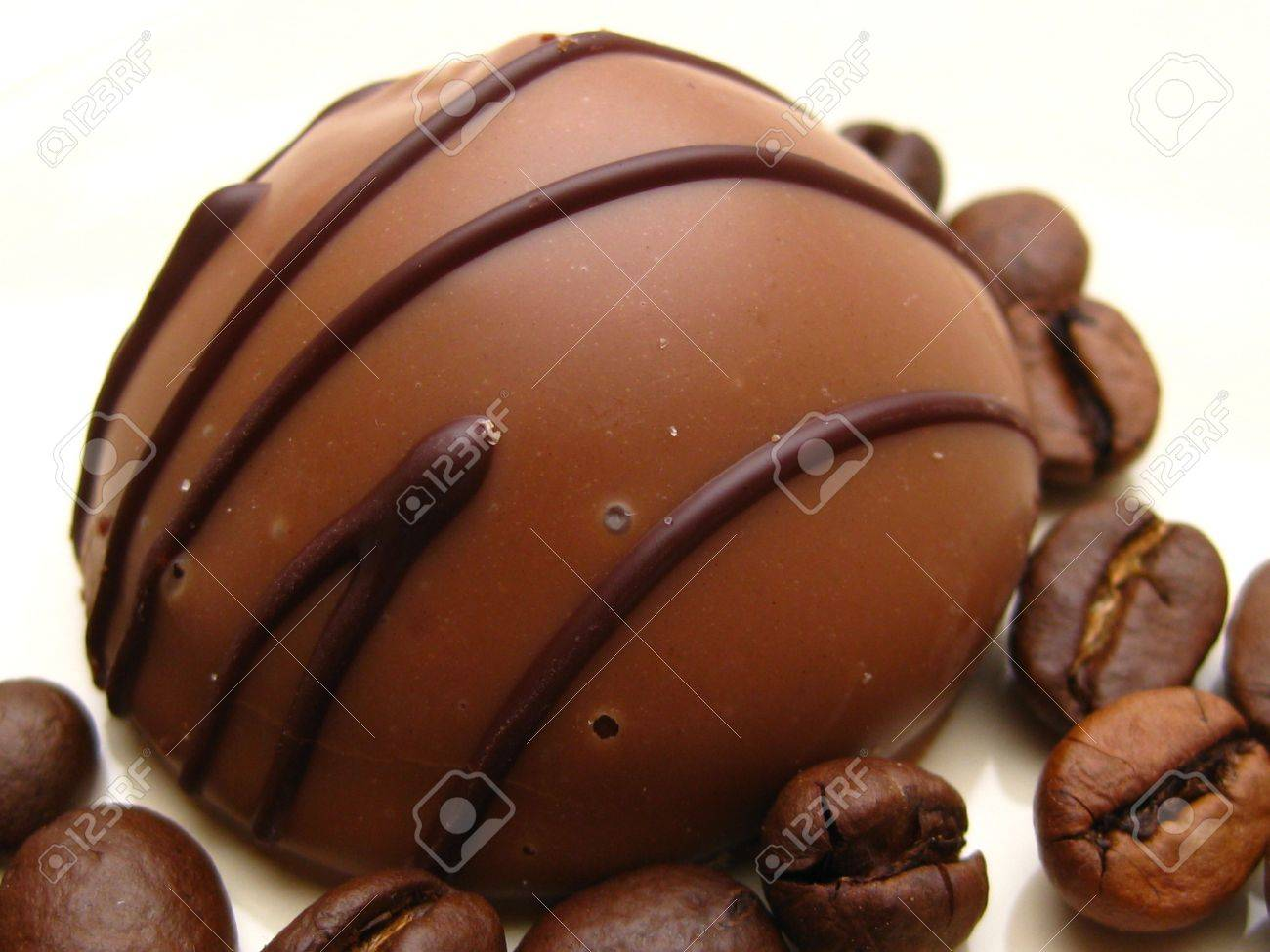 Belgium Chocolate Praline With Coffee Beans Stock Photo, Picture ...