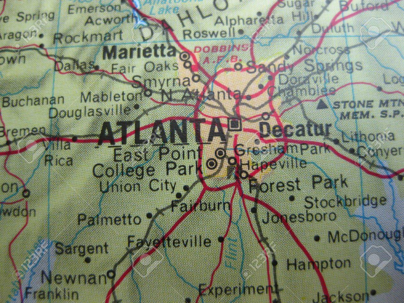 American Cities On Map Atlanta Georgia Stock Photo Picture And - Georgia map union city