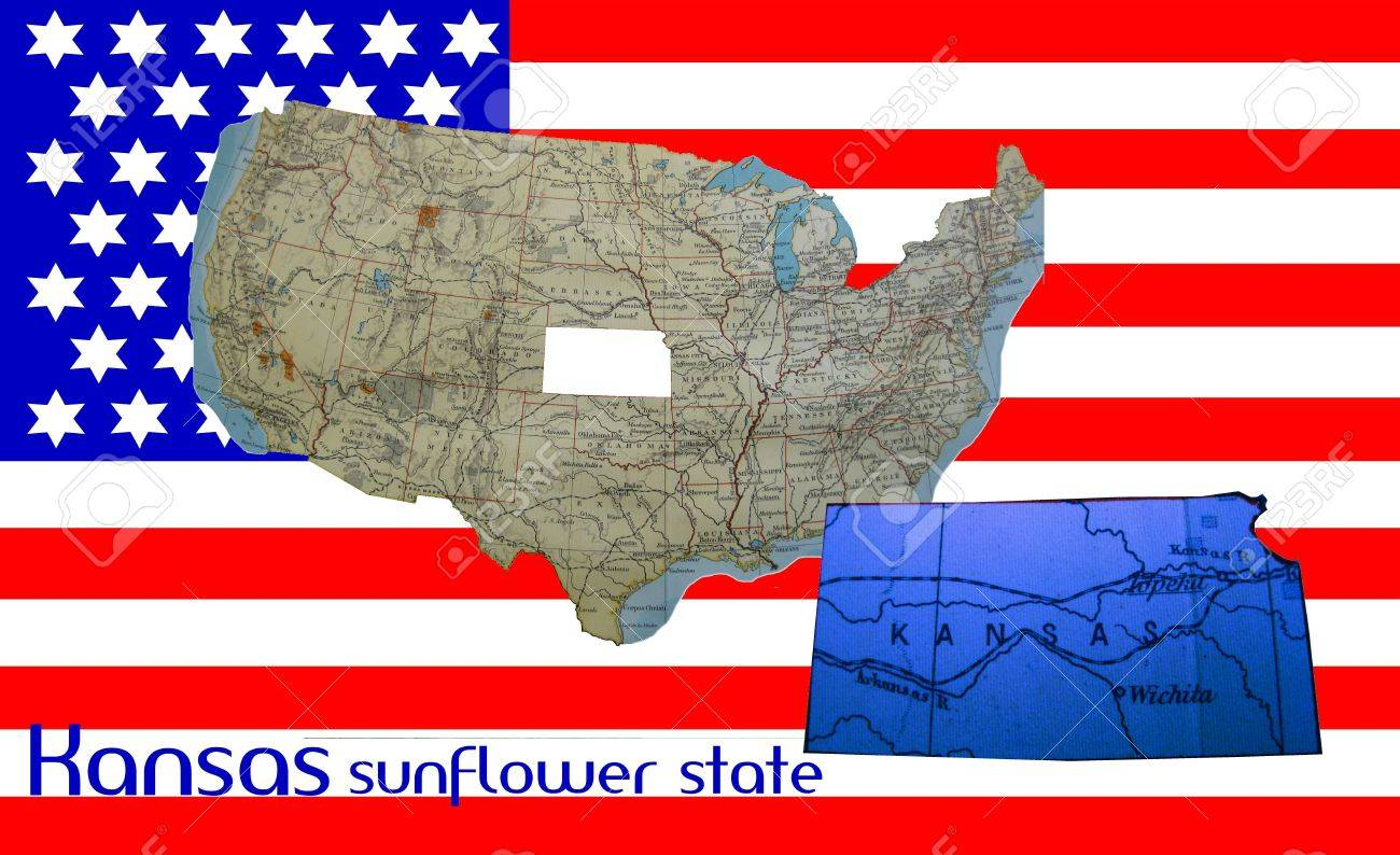 american flag and map kansas the sunflower state stock po 4815898