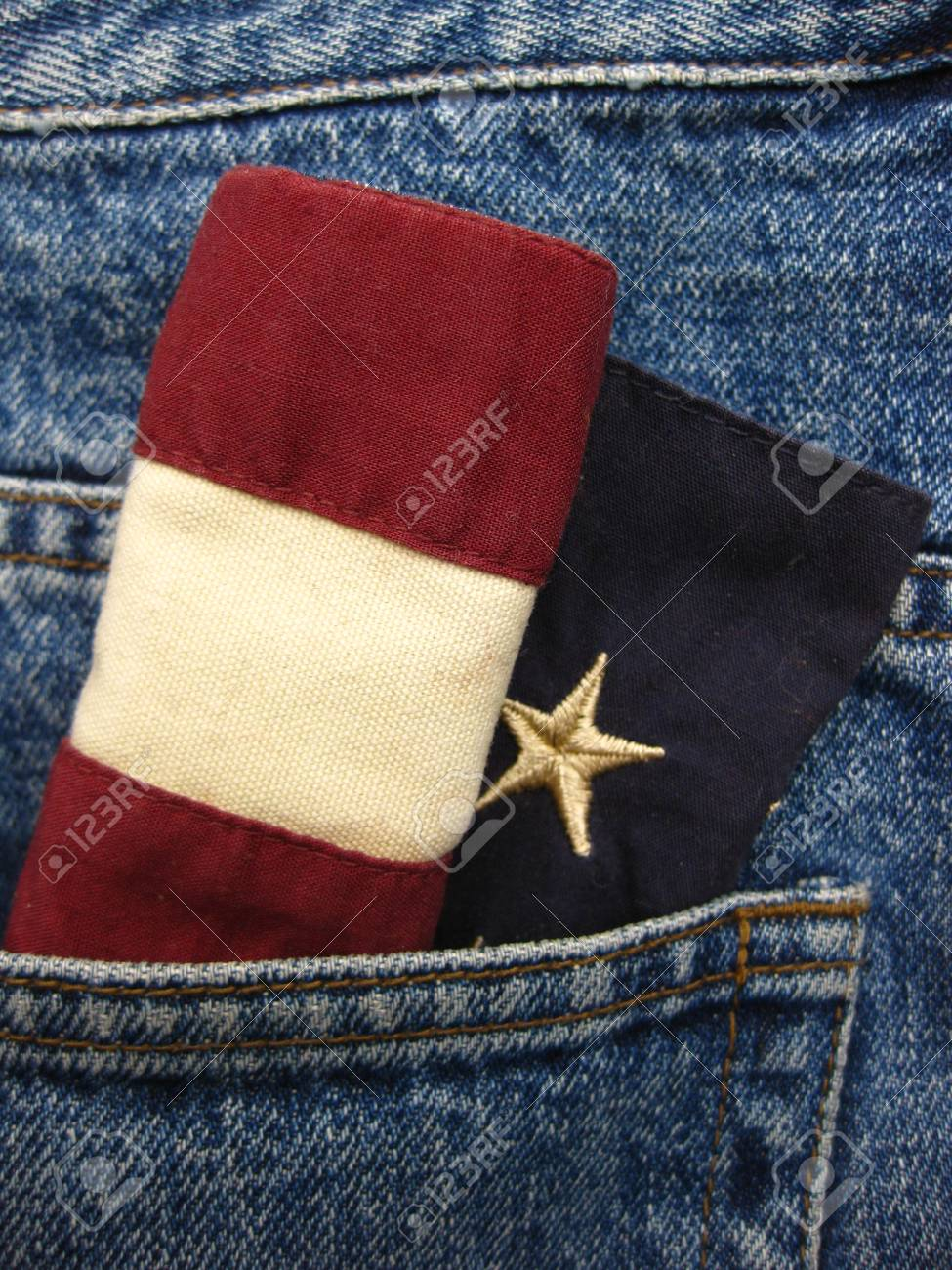 stars and stripes in jeans pocket Stock Photo - 4998411