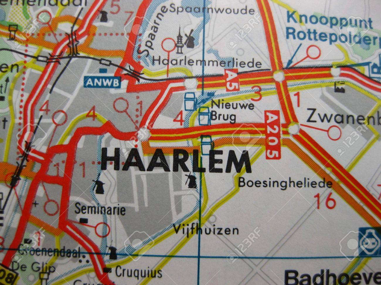 Europe In Seven Days Map Of Haarlem The Netherlands Stock Photo