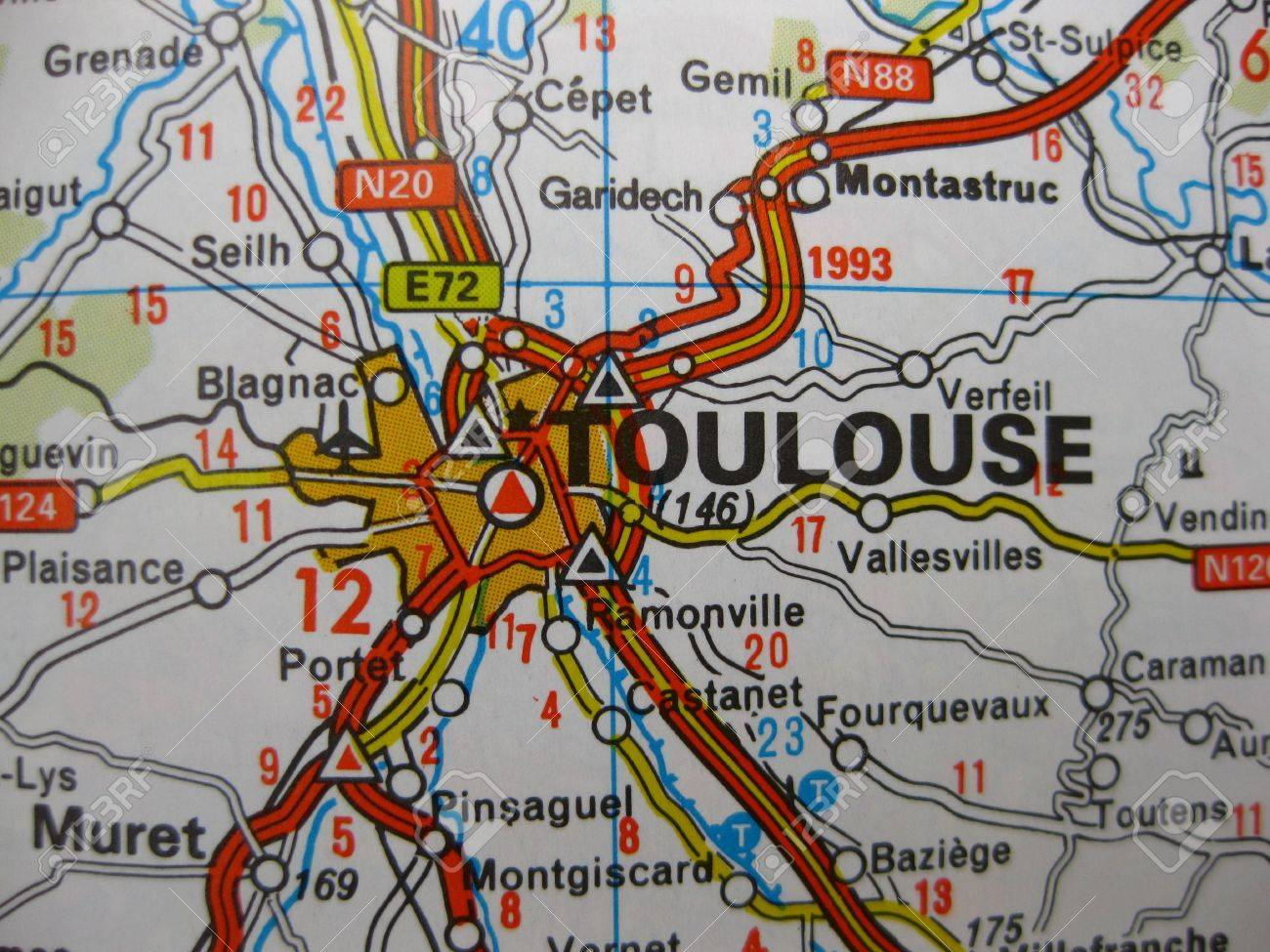 Europe In Seven Days Map Of Toulouse France Stock Photo Picture
