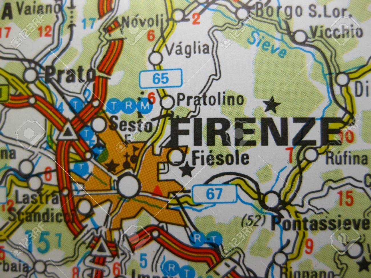 Europe In Seven Days: Map Of Florence, Italy Stock Photo, Picture ...
