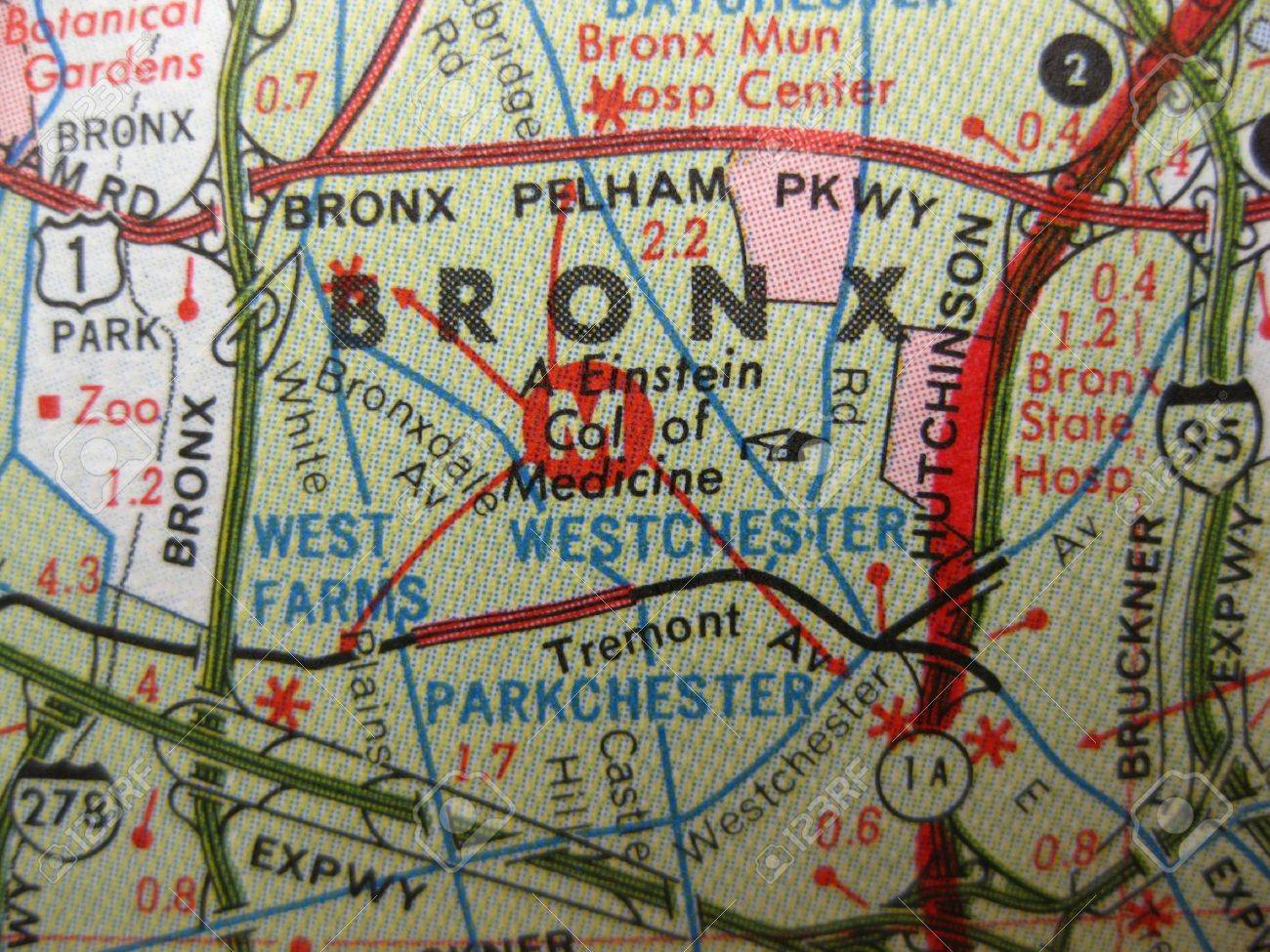 Map Of New York Bronx.Vintage Map Of The Bronx New York