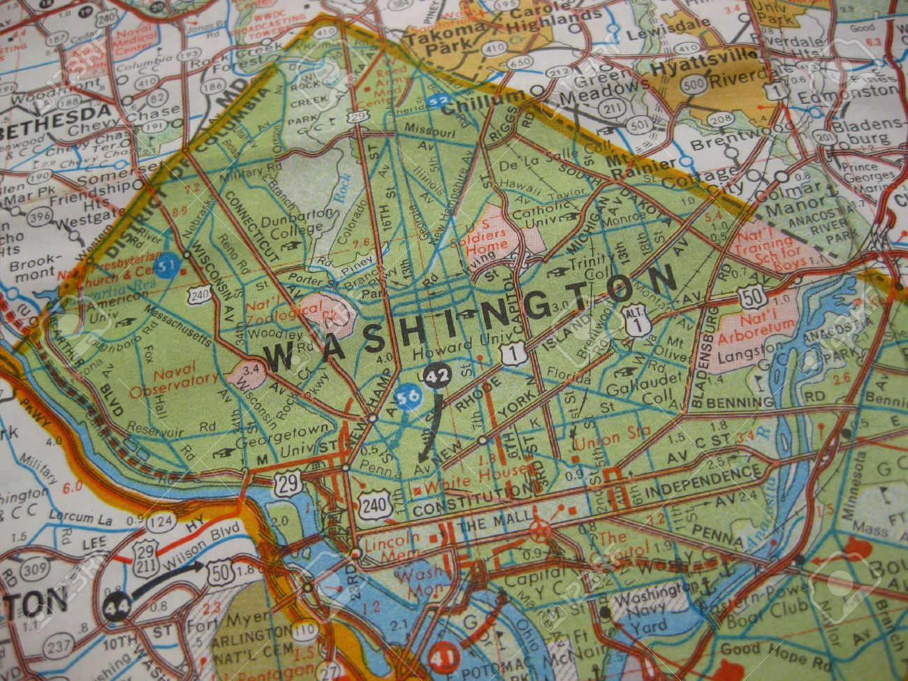 Vintage Map Of Washington Dc Stock Photo Picture And Royalty Free