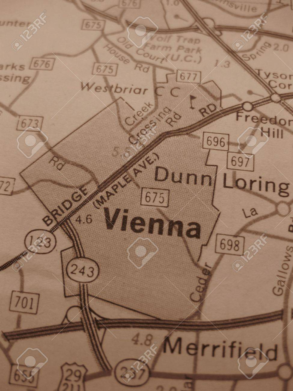 Vintage Map Of Vienna Washington DC In Sepia Stock Photo Picture - Washington dc hill map