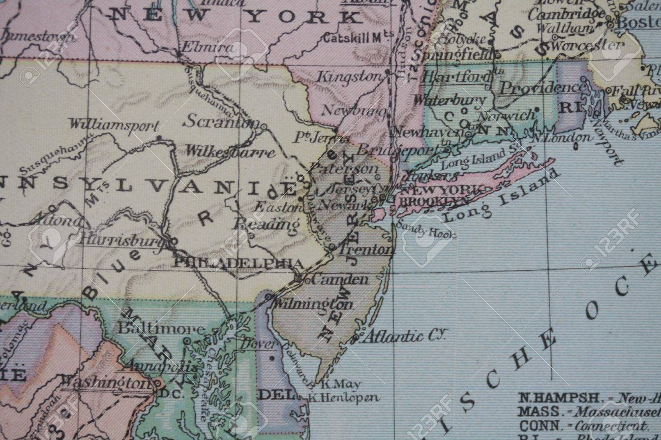 Vintage USA East Coast Map Stock Photo Picture And Royalty Free - Map of east coast on usa