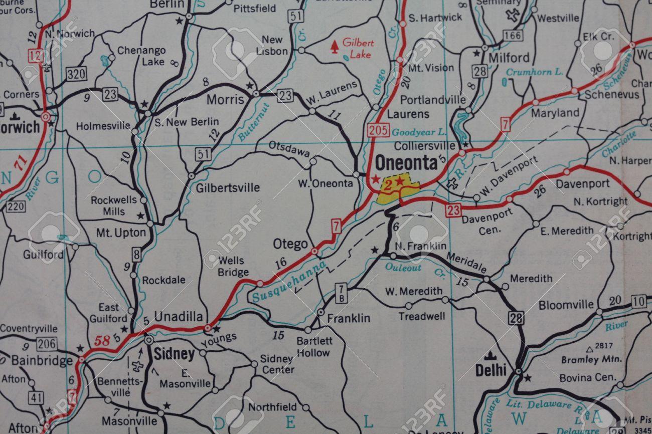 Oneonta Ny Map Vintage Map Oneonta, NY Stock Photo, Picture And Royalty Free  Oneonta Ny Map