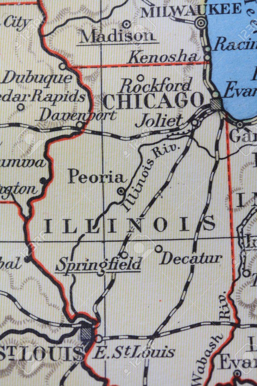 Vintage Map Illinois Prairie State Stock Photo Picture And - Vintage milwaukee map