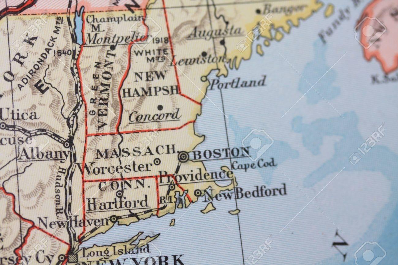Vintage 1956 Map: Massachusetts, Connecticut Stock Photo, Picture ...
