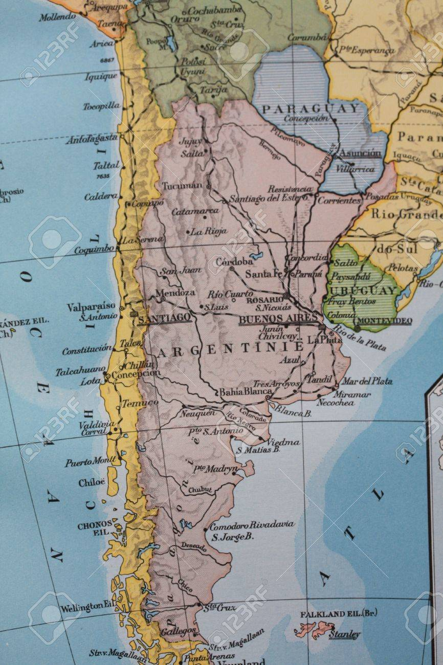 Vintage Map South America Chili Argentina Stock Photo - Argentina map vintage