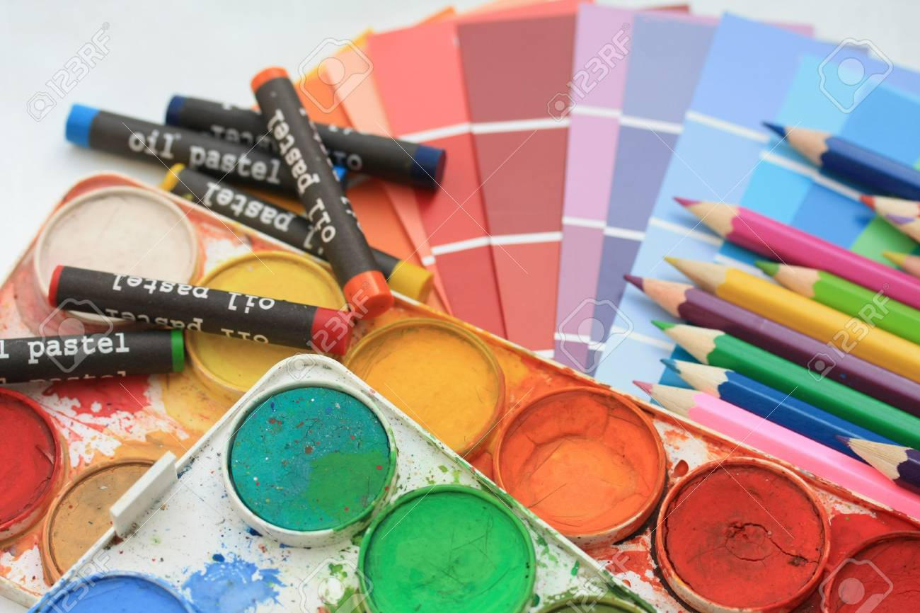 Collection of color samples, water colors and pencils Stock Photo - 5627577