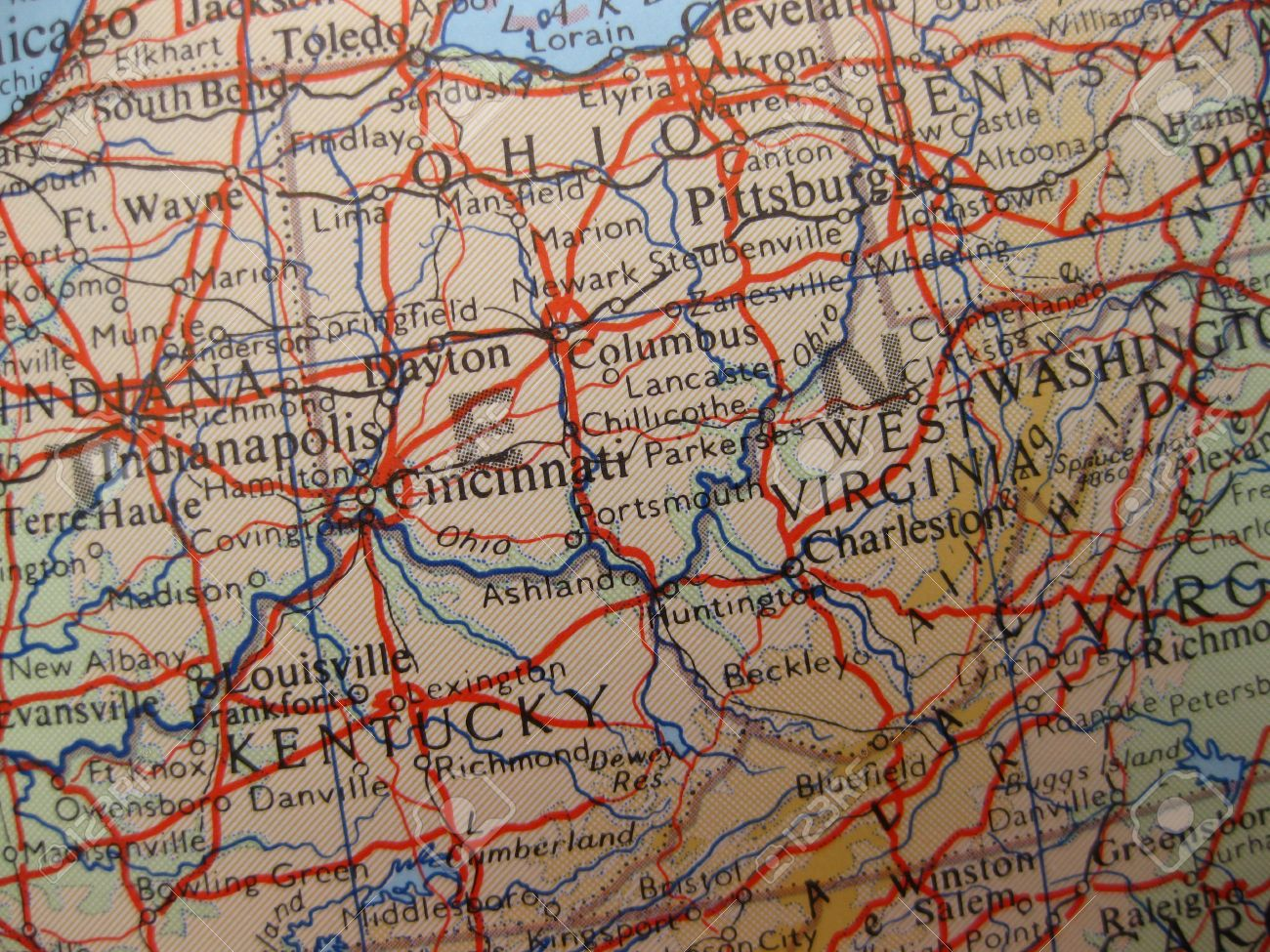 Map Of Ohio West Virginia And Pennsylvania.Map Of Kentucky Ohio And West Virginia Stock Photo Picture And