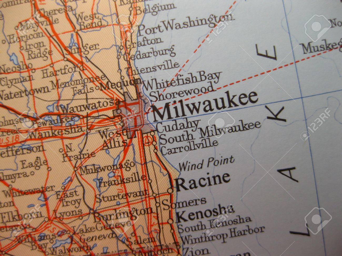Map Of Milwaukee, Wisconsin Stock Photo, Picture And Royalty Free ...