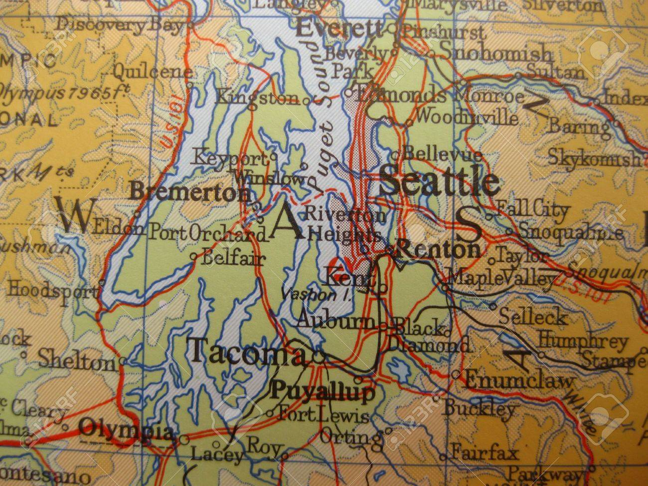 Map Of Seattle Washington Stock Photo Picture And Royalty Free