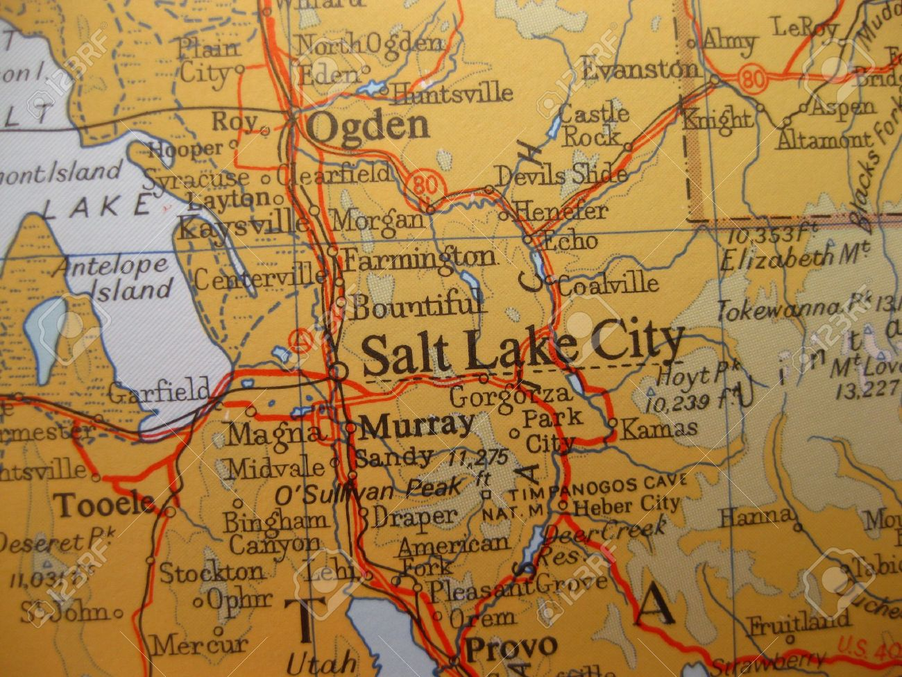 Map Of Salt Lake City, Utah Stock Photo, Picture And Royalty Free ...