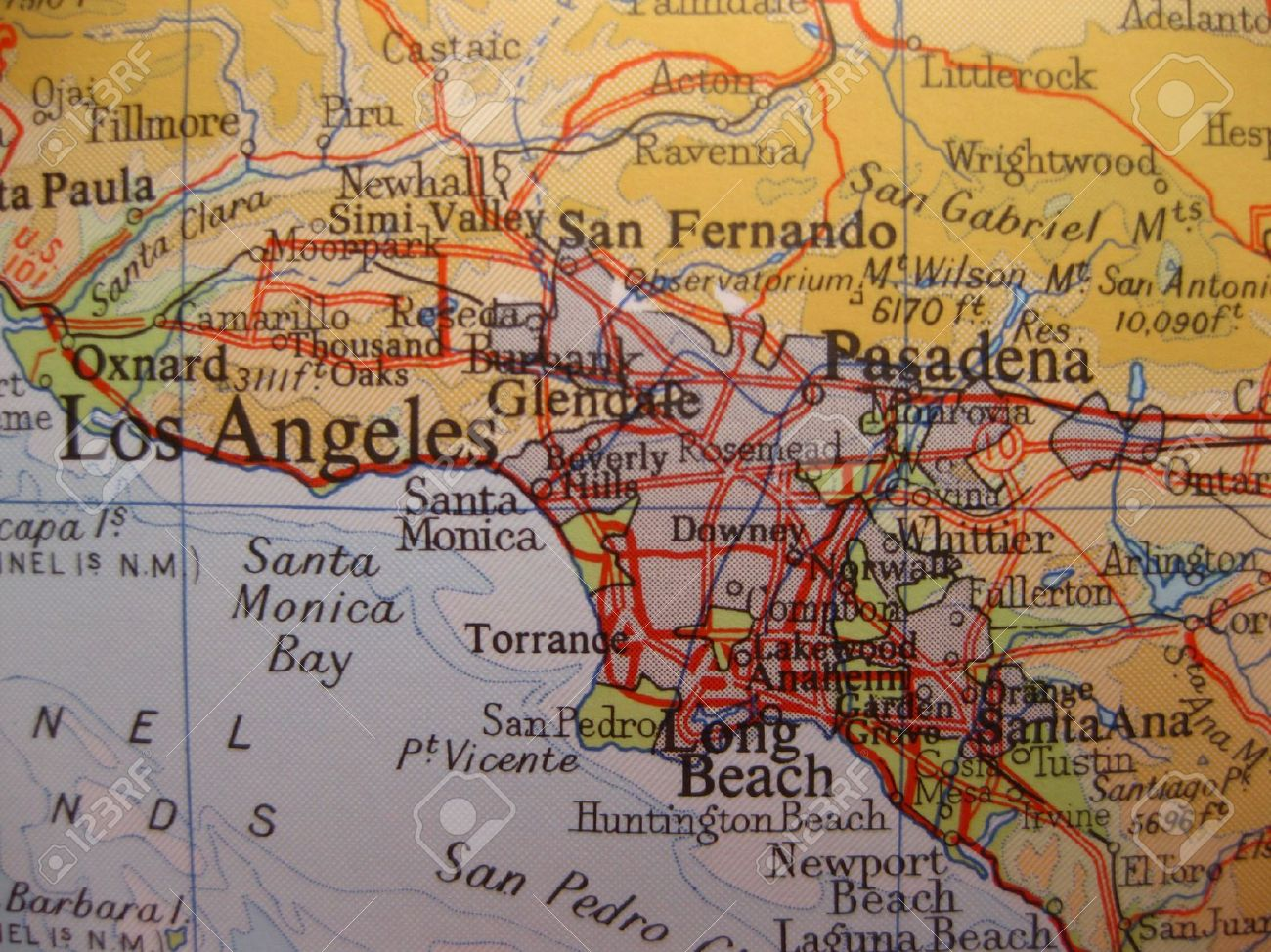 Map Of Los Angeles California Stock Photo Picture And Royalty - Mapa de california