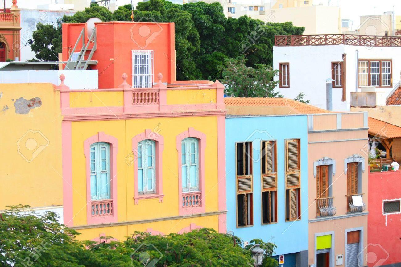 colorful houses in a street in santa cruz de tenerife stock photo 6054367