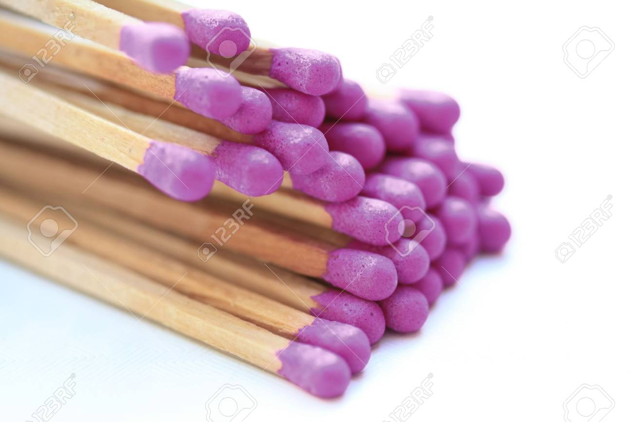A pile of matches with purple tips Stock Photo - 6167116