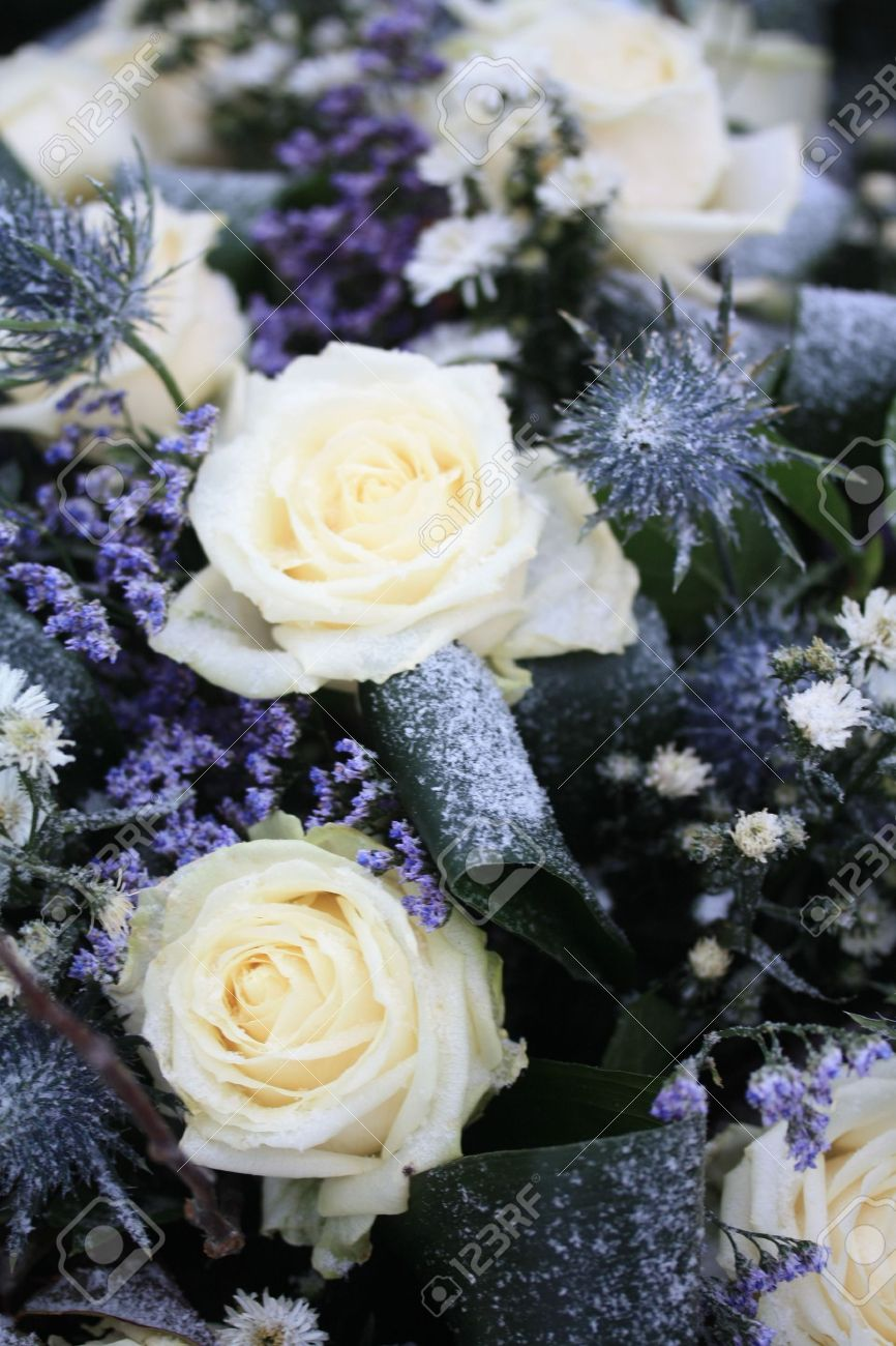 A flower arrangement in the snow white roses and other blue stock a flower arrangement in the snow white roses and other blue flowers stock photo mightylinksfo