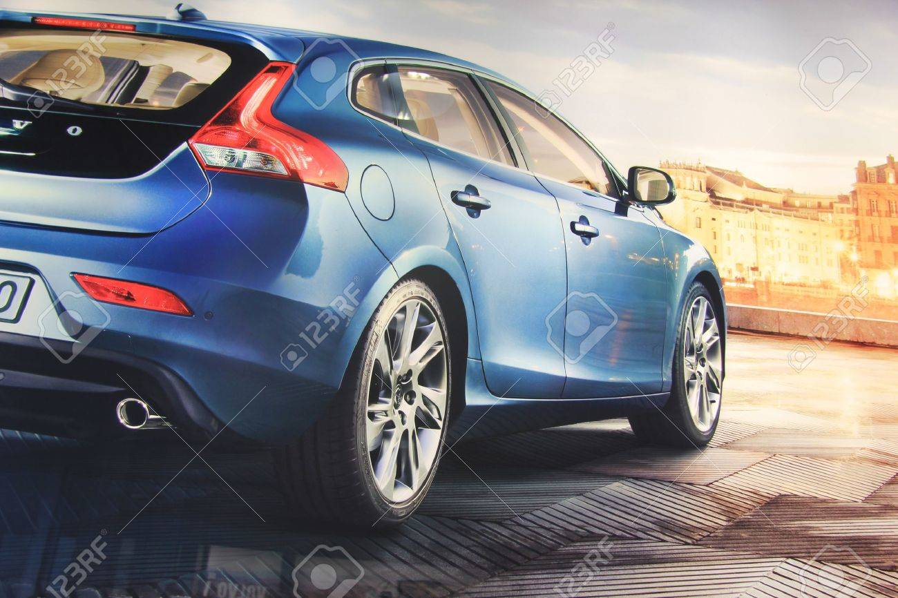 March 31st, Beesd the Netherlands Presentation of new Volvo V40, advertisement in detail on big screen - 13021629