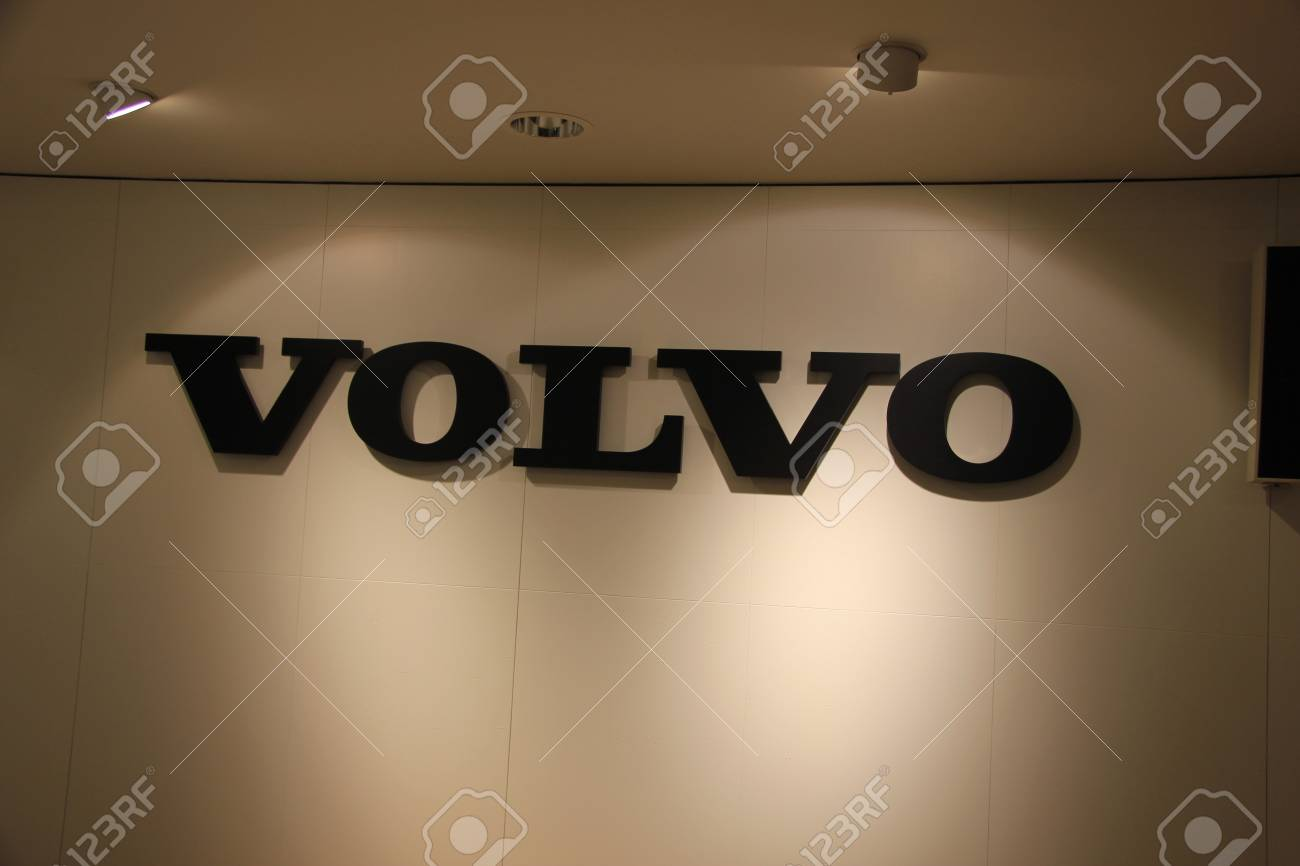March 31st, Beesd the Netherlands Presentation of new Volvo V40, Volvo trademark in showroom Stock Photo - 13021582