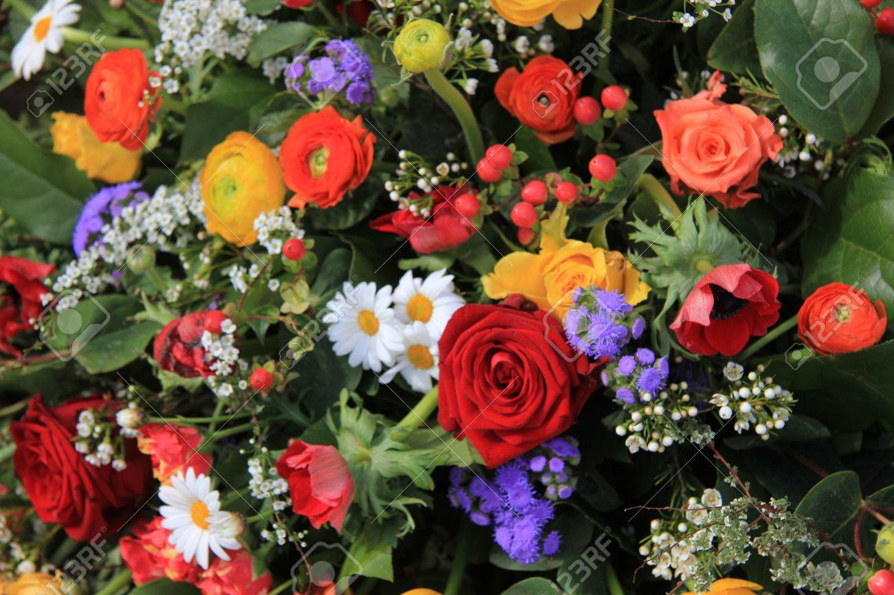 Flower Arrangement In Many Bright Colors And Different Sorts.. Stock ...