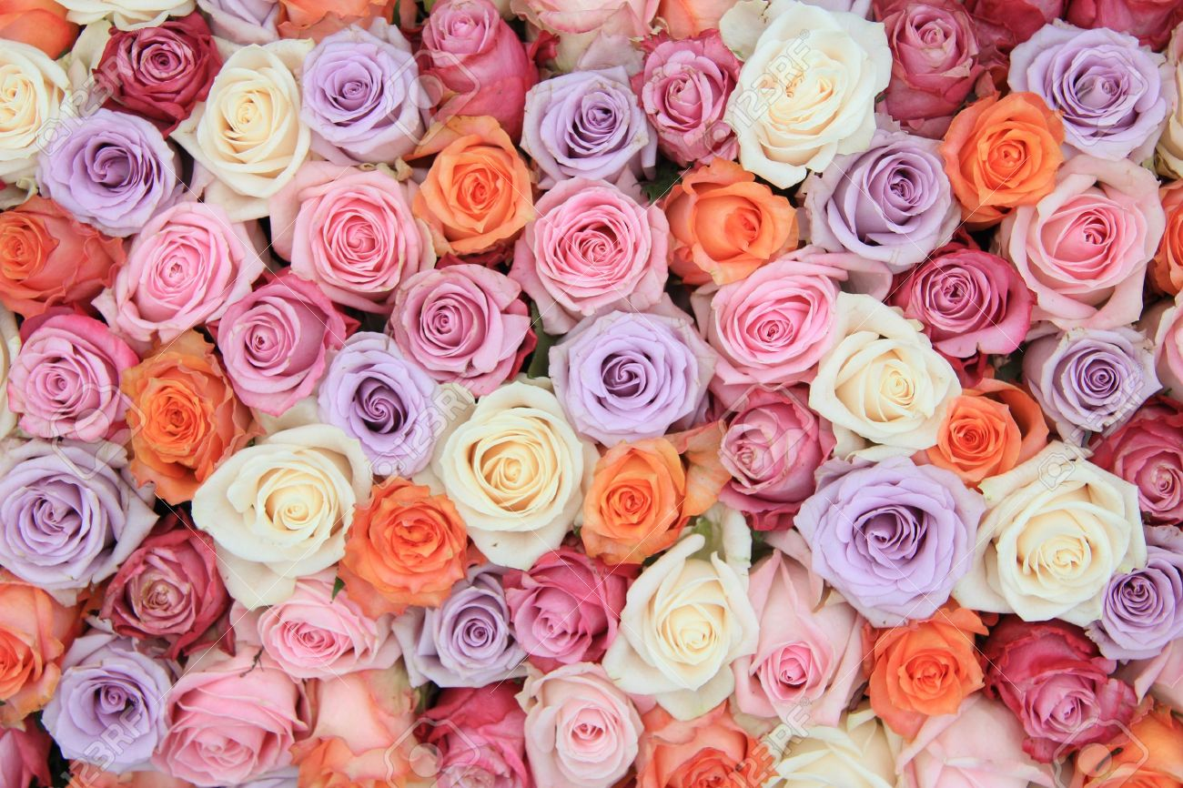 Fantastic Bridal Flower Arrangement With Roses In Many Pastel Colors Stock  FB21