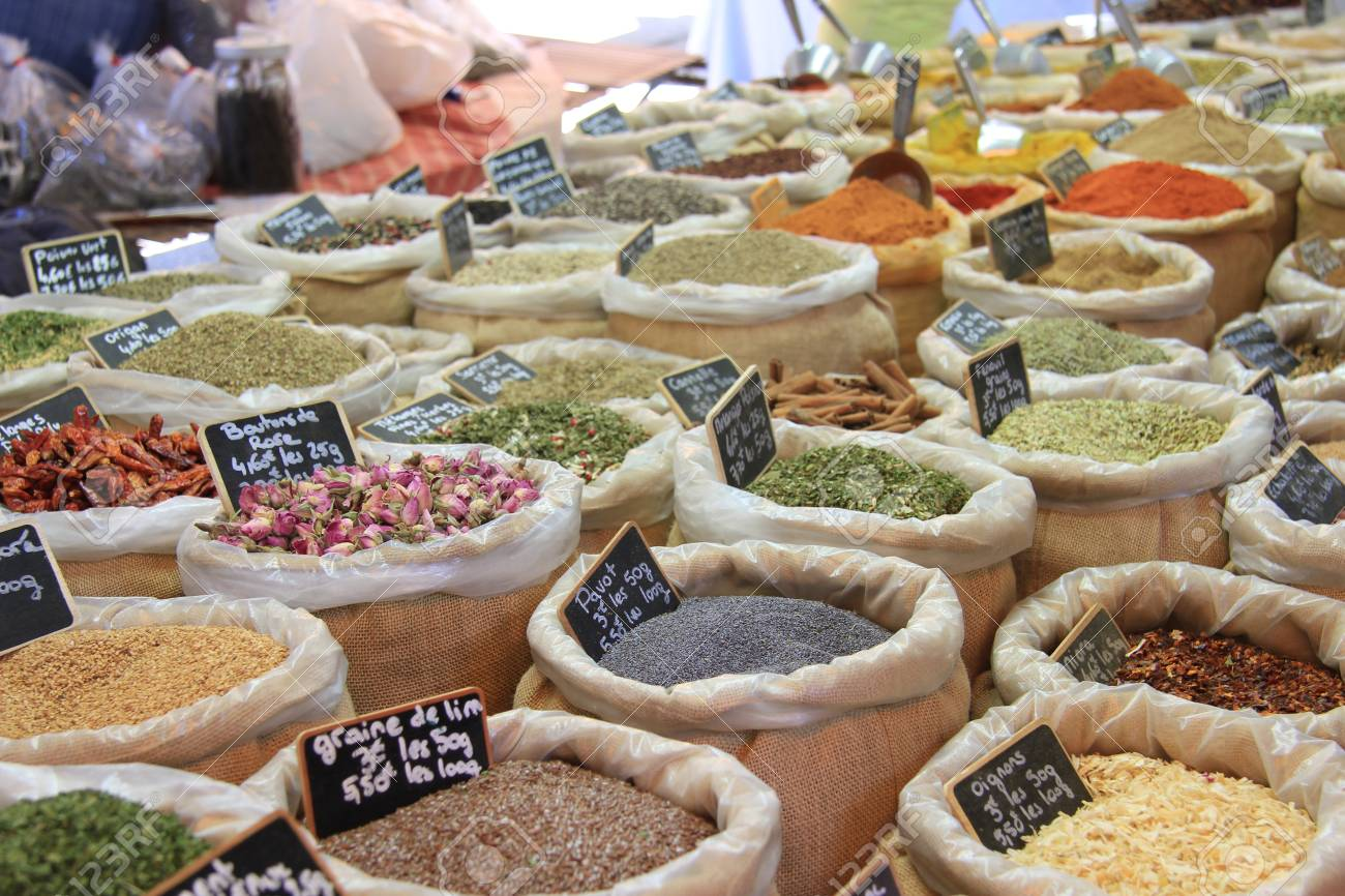 Herbes and spices in jute bags on a Provencal market in France Stock Photo - 14014687