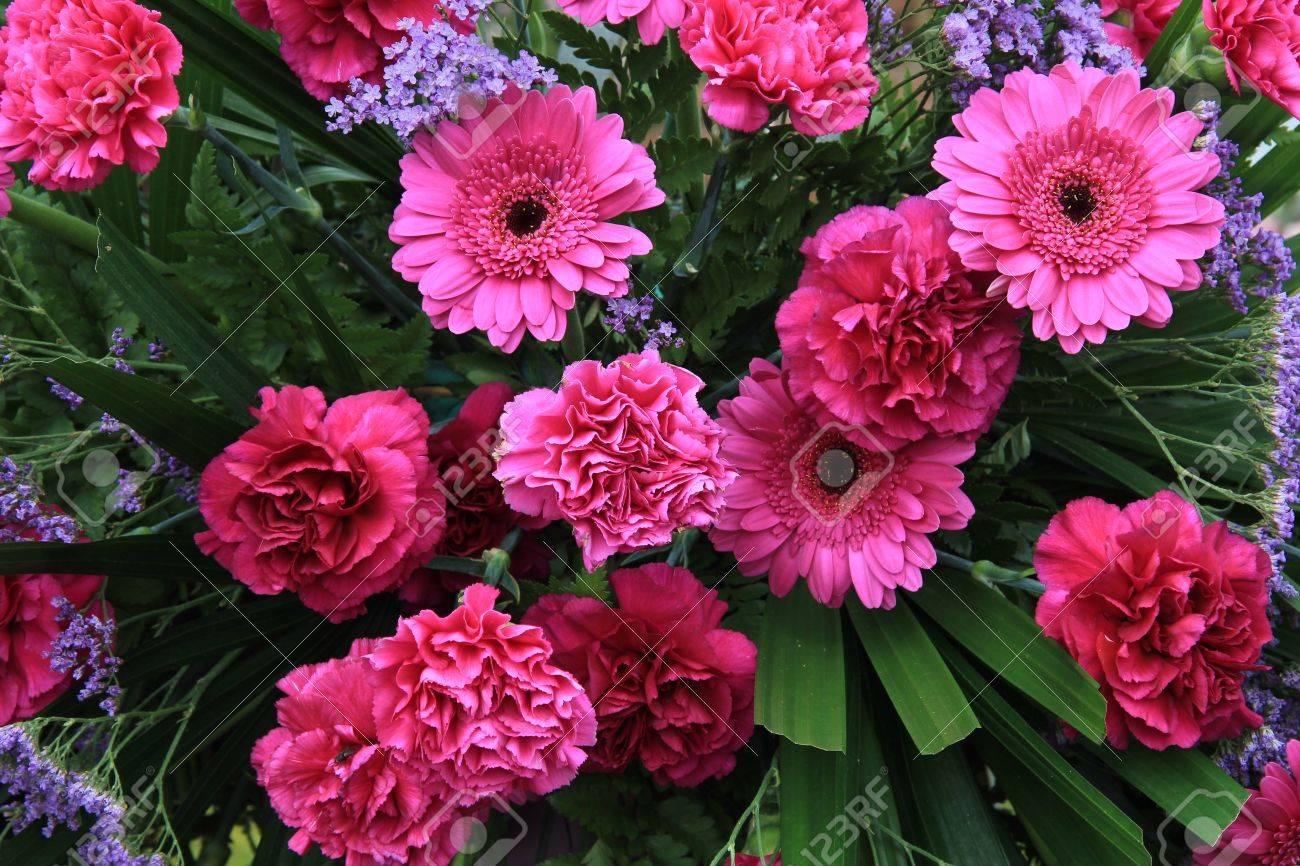 Bright shocking pink carnations and gerberas in a mixed flower bright shocking pink carnations and gerberas in a mixed flower arrangement stock photo 14434364 mightylinksfo