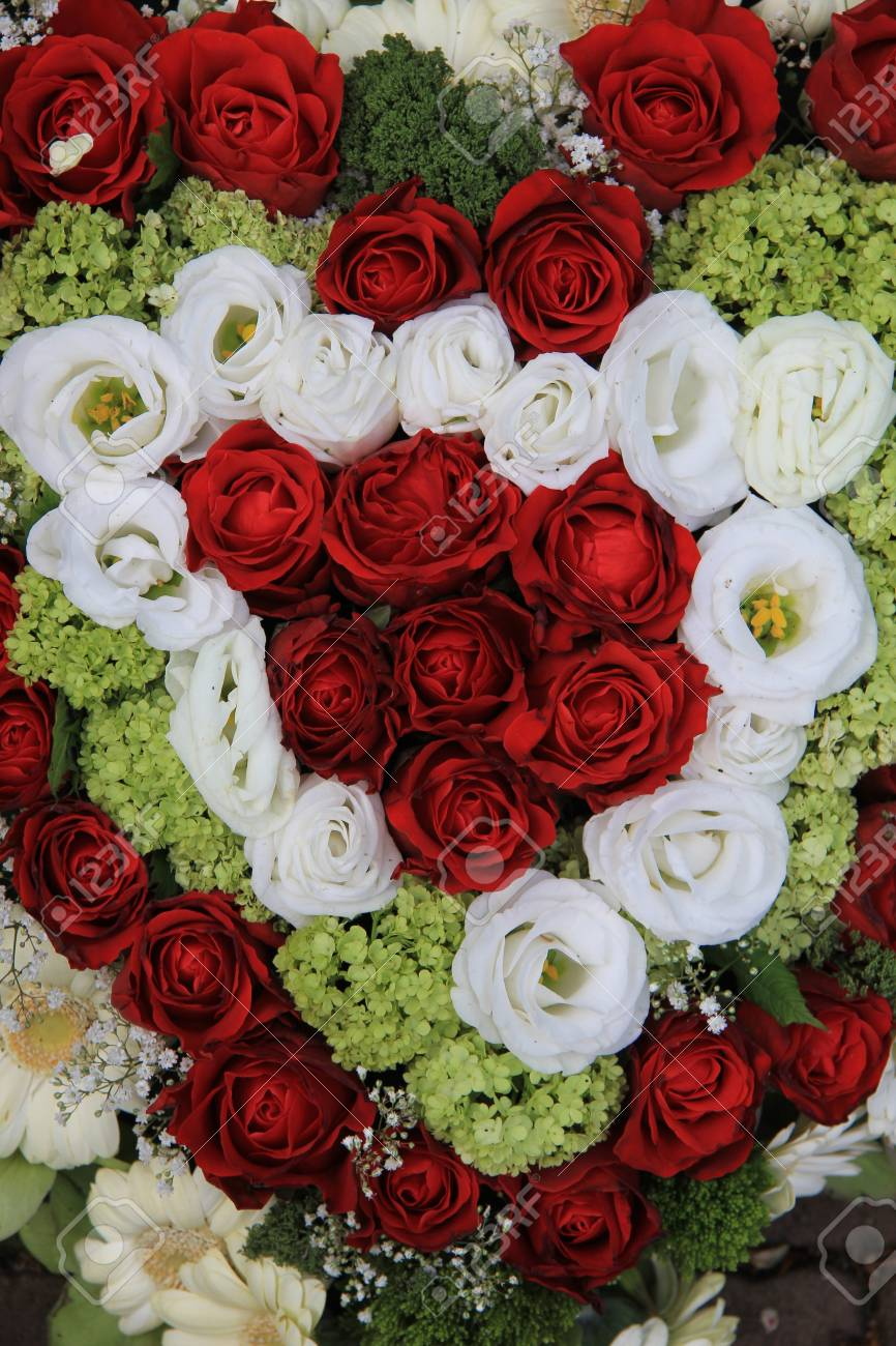 Flower Arrangement In Red And White Stock Photo Picture And Royalty