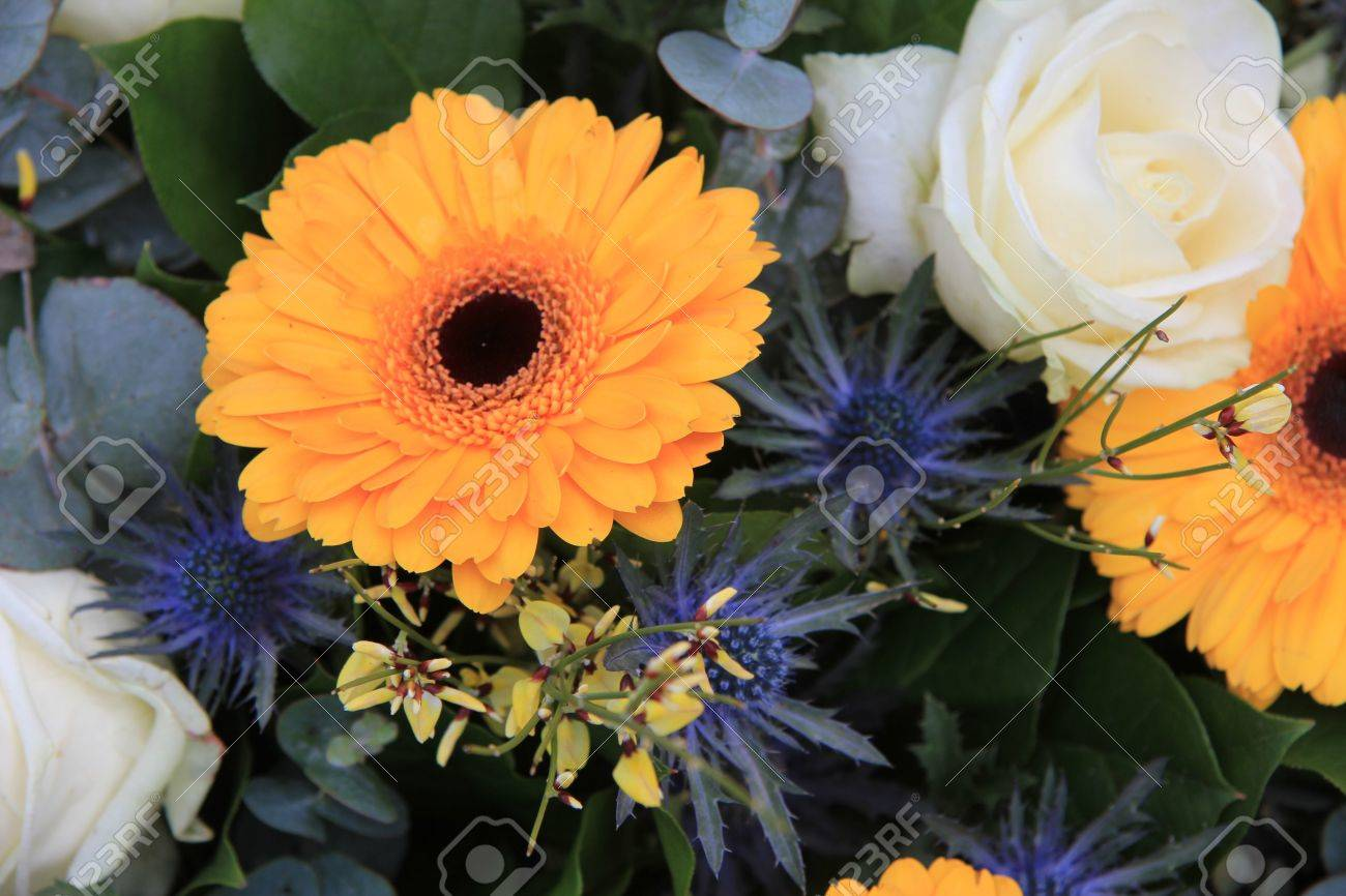 Yellow And White Flower Arrangement Yellow Gerberas And White