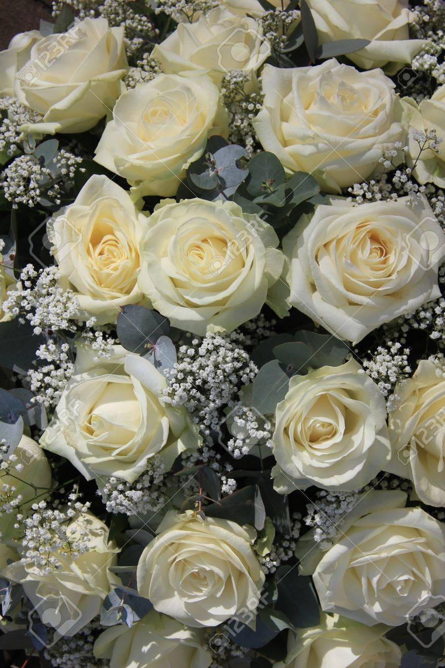Flower arrangement with big white roses and white gypsophila stock flower arrangement with big white roses and white gypsophila stock photo 14735002 mightylinksfo