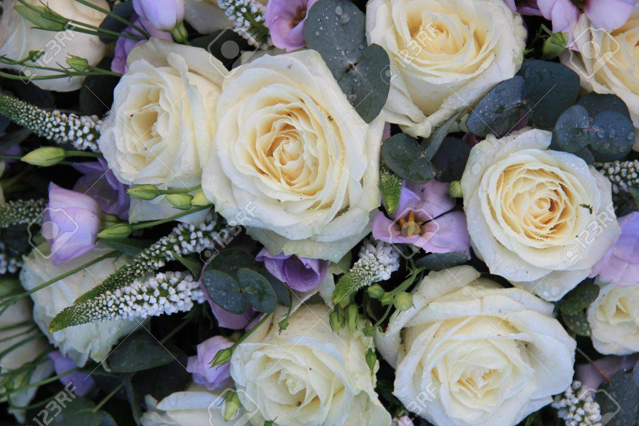Floral arrangement with big white roses and small purple flowers floral arrangement with big white roses and small purple flowers stock photo 14735256 mightylinksfo