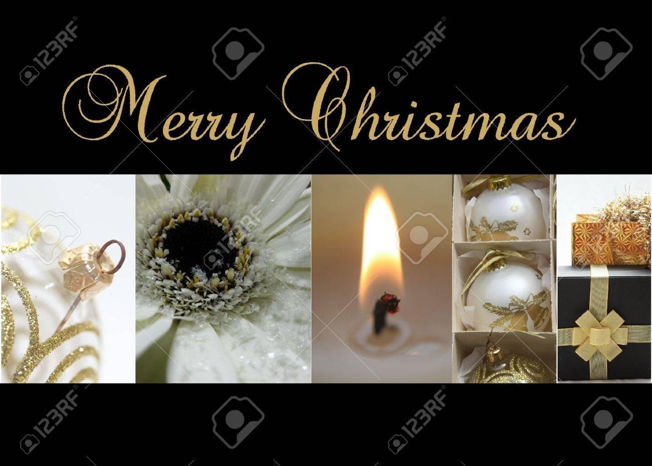 Or Noir Blanc Collage Carte De Noël Prêt à Imprimer