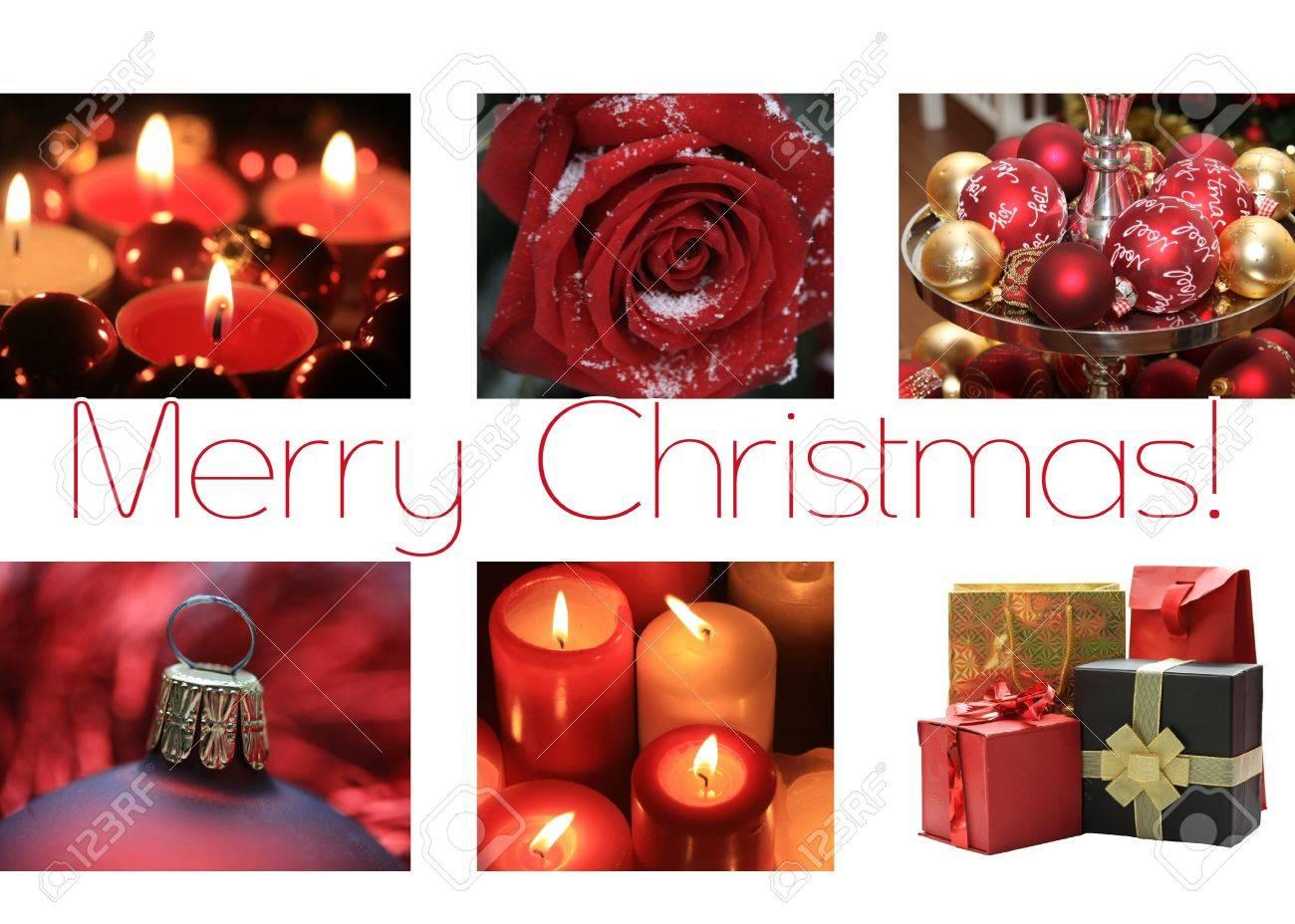 Noir Blanc Rouge Collage Carte De Noël Prêt à Imprimer